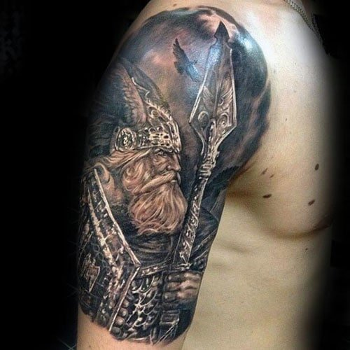 Cool Viking Warrior Upper Arm Tattoo For GUys