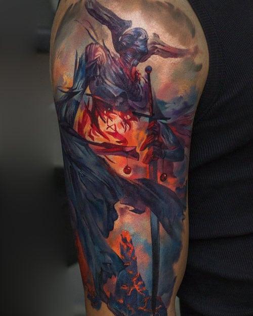 Evil Upper Arm Tattoo Ideas