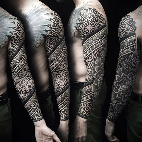 Geometric Full Sleeve Arm Tattoo Designs