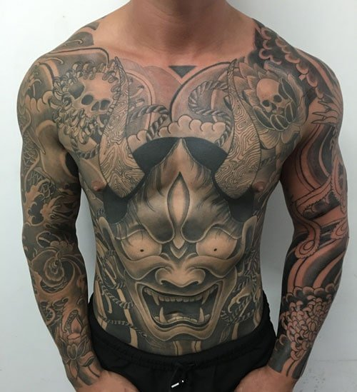 Japanese Full Chest Demon Tattoo