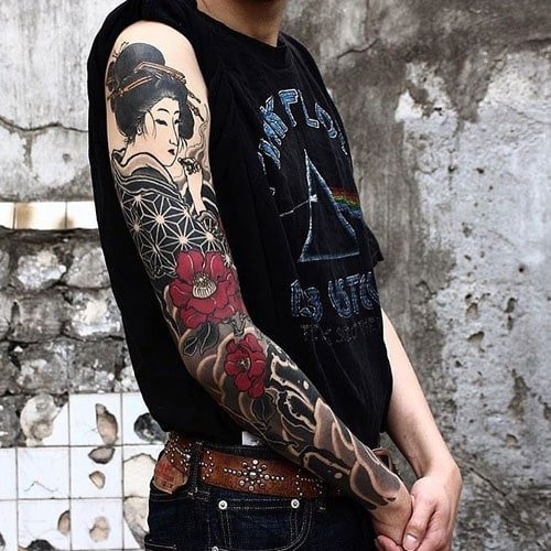 Japanese Geisha Sleeve Tattoos