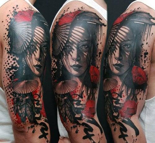 Japanese Girl Shoulder Arm Tattoo Designs