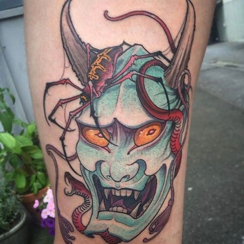 Japanese Oni Demon Mask Tattoo