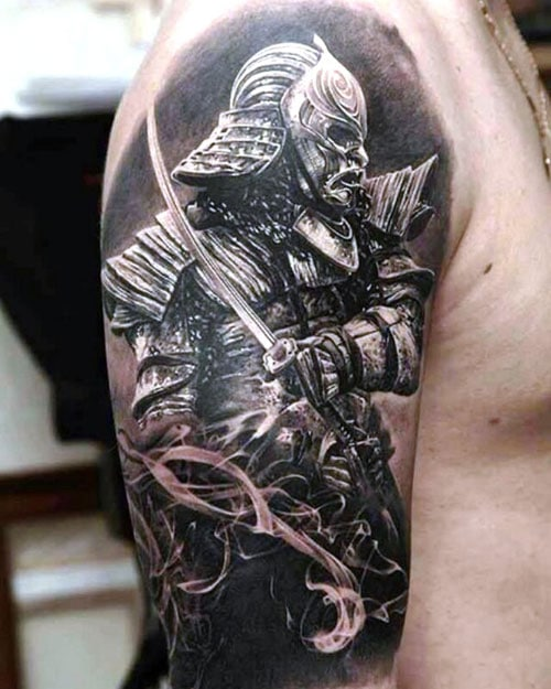 Japanese Samurai Shoulder Tattoo