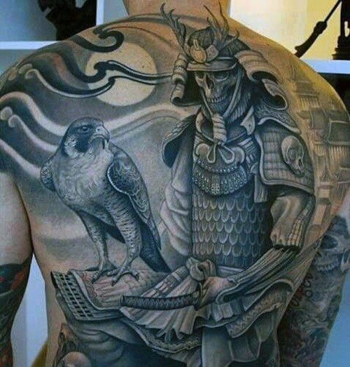 Japanese Samurai Skull Back Tattoo