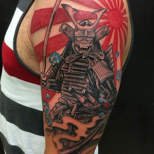 Japanese Shoulder Samurai Sun Tattoo