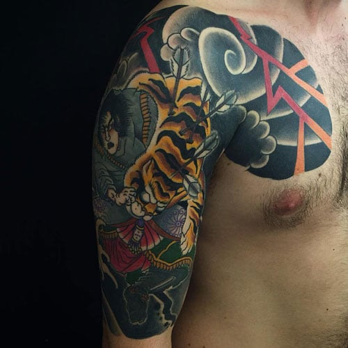 Japanese Tiger Chest Shoulder Upper Arm Tattoo Designs