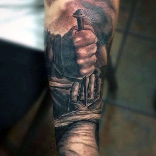 Jesus Christ Cross Religious Arm Tattoo
