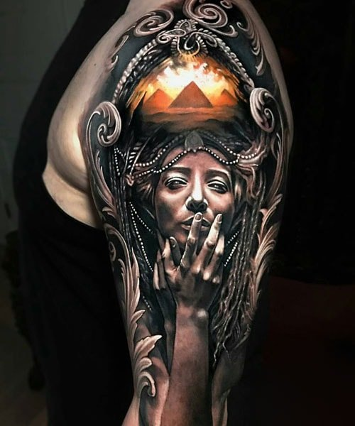 Realistic Shoulder Arm Tattoo Designs For Guys
