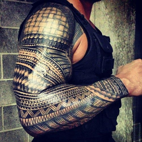 Samoan Tribal Full Sleeve Arm Tattoo Designs For Men