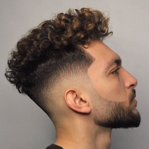 Thick Curly Hair + Faded Sides + Line Up + Beard
