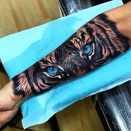 Tiger Eyes on Inner Arm Tattoo
