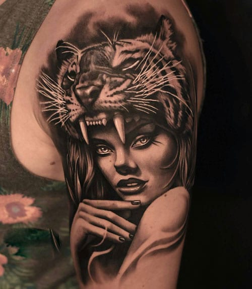 Tiger Woman Left Arm Tattoo Designs