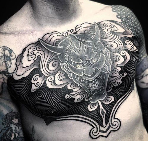 Traditional Japanese Black and White Chest Tattoo