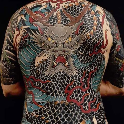 Traditional Japanese Full Back Dragon Tattoo Designs