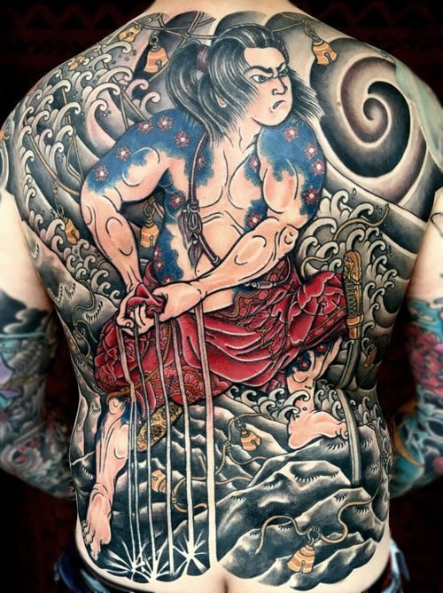 Traditional Japanese Full Back Piece Tattoo Designs