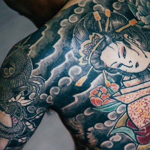 Traditional Japanese Geisha Back Piece Tattoo