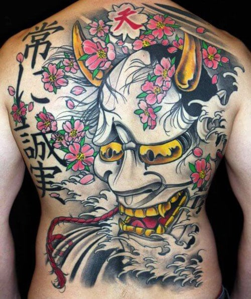 Traditional Japanese Kabuki Demon Mask Tattoo
