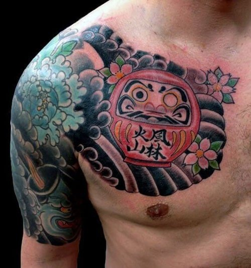 Traditional Japanese Style Chest Tattoo