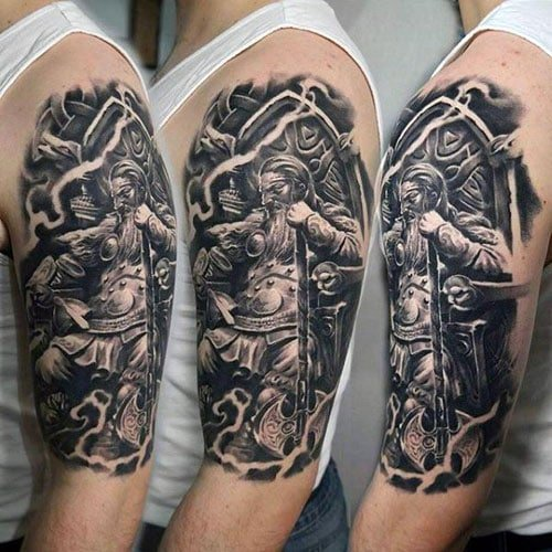 Viking Warrior Upper Arm Tattoo