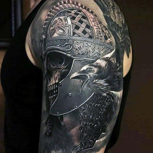 Warrior Helmet Skull Upper Arm Tattoo