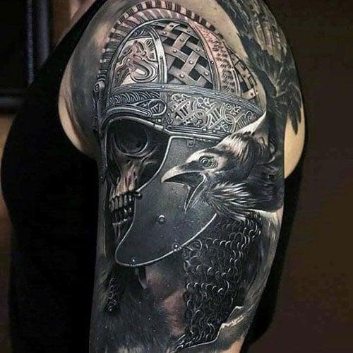 Warrior Helmet Skull Upper Arm Tattoo