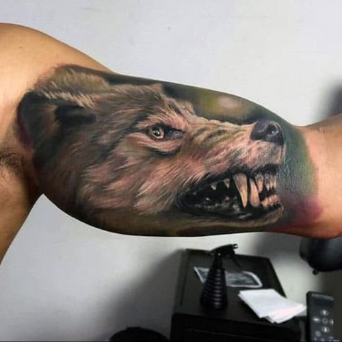 Watercolor Wolf Inner Arm Tattoo Designs