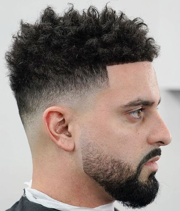 Curly Hair with Line Up Fade