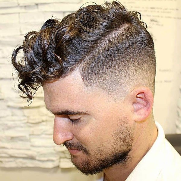 Low Fade Haircut with Curly Hair on Top