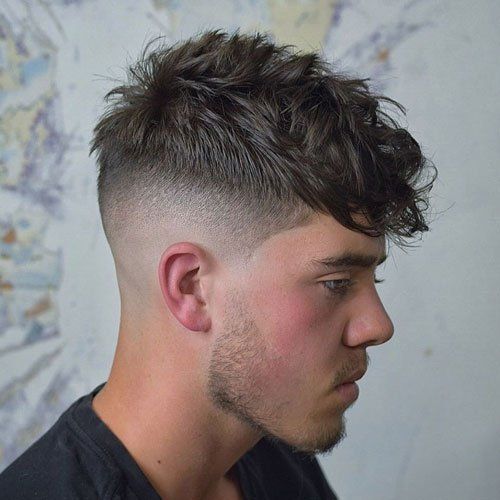Short Curly Hair Fade Haircut For Men