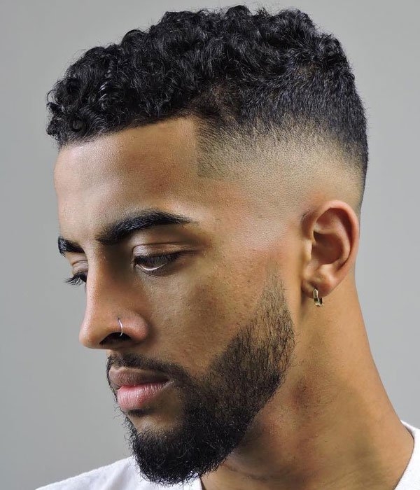 Short Curly Hair Taper Fade Haircut