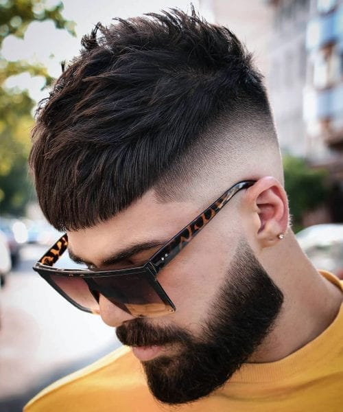 Trendy Caesar Haircut with Undercut and Beard