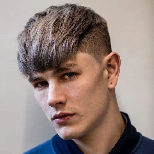 Straight Hair Fringe Fade Hairstyle Men