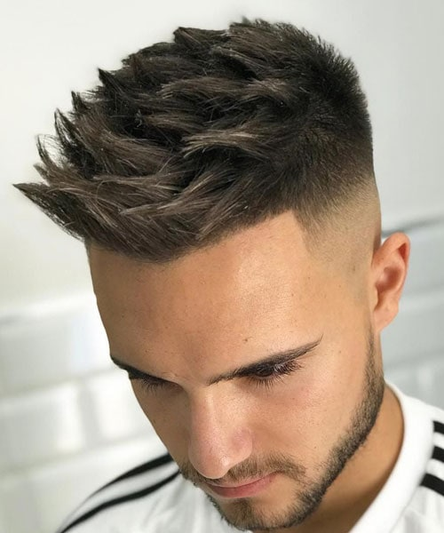 Cool Spiky Textured Undercut Fade Hairstyle Men