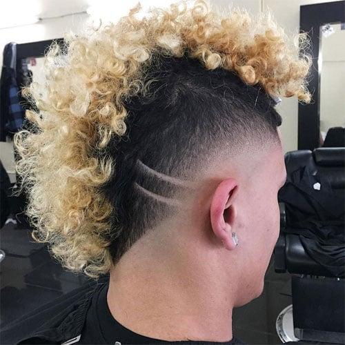 Curly Hair Mohawk Fade Perm Men