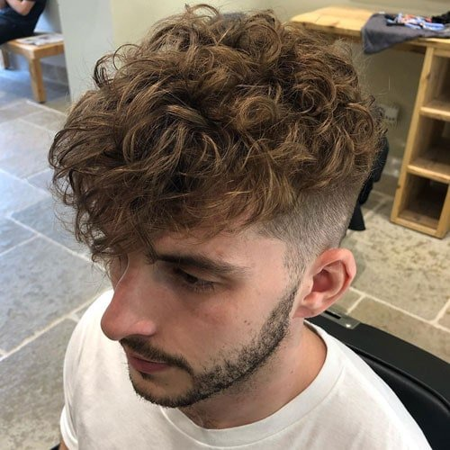 Curly Hair Pompadour Perm Men