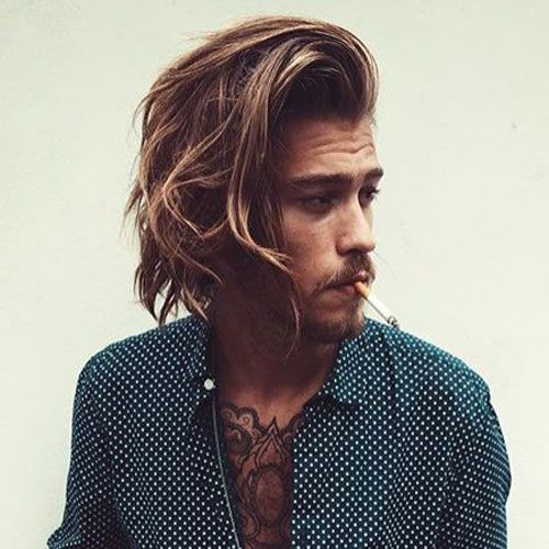 Long Side Swept Hairstyle Men
