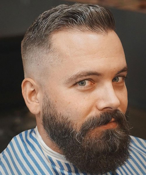 Short Thinning Hair with Bald Fade and Beard
