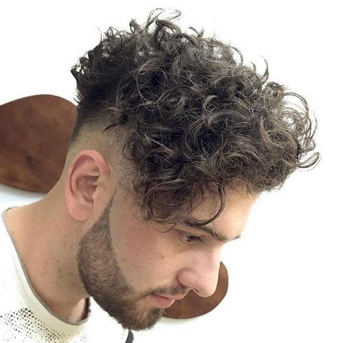 Side Swept Curly Hair Men