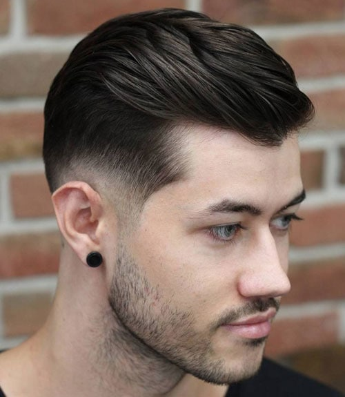 Widow's Peak Bald Fade with Longer Hair on Top