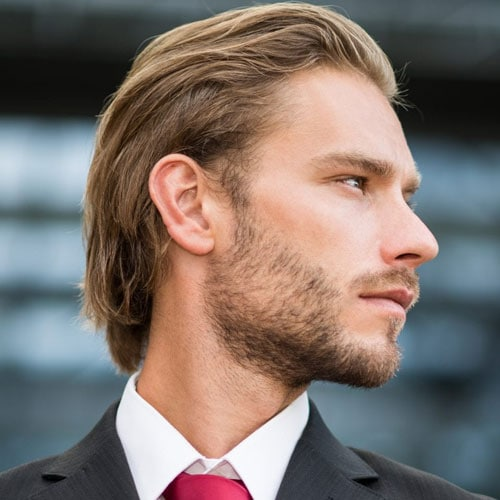 Medium Length Slicked Back Hairstyle