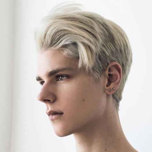Dyed Blonde Side Swept Fringe