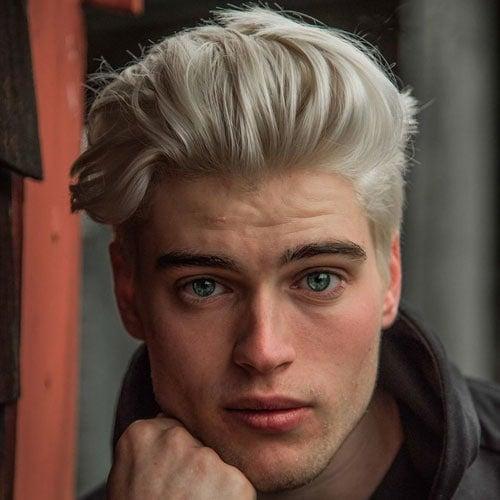 Platinum Blonde Quiff Haircut Men