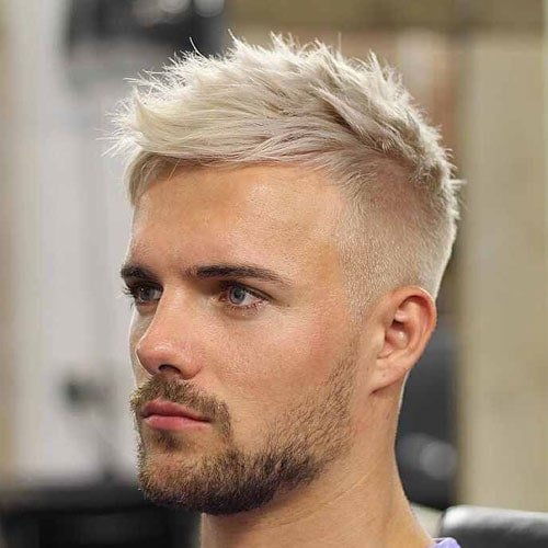 Platinum Blonde Short Hair with Fade