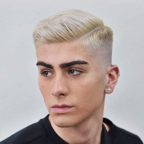 Platinum Blonde Short Hairstyle with Taper Fade