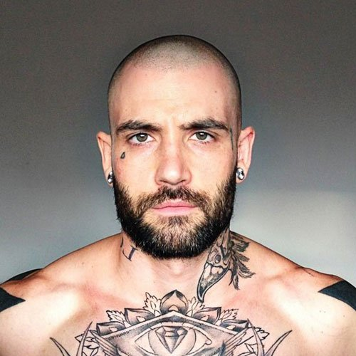 Cool Shaved Head with Beard