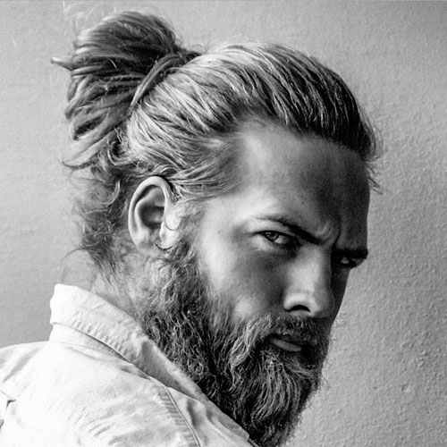 Viking Man Bun with Beard